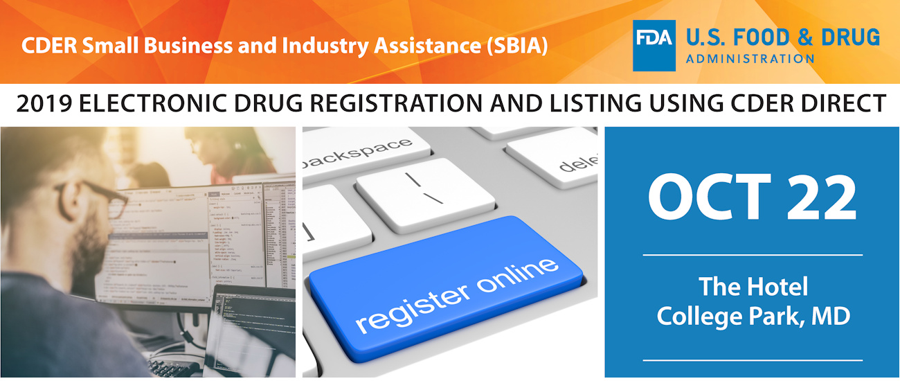 2019 Electronic Drug Registration and Listing Using CDER Direct Header Banner